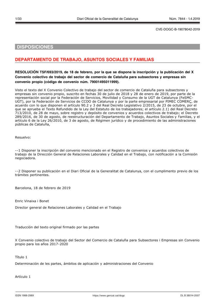 CC COMERCIO EMPRESAS SIN CONVENIO CATALUÑA
