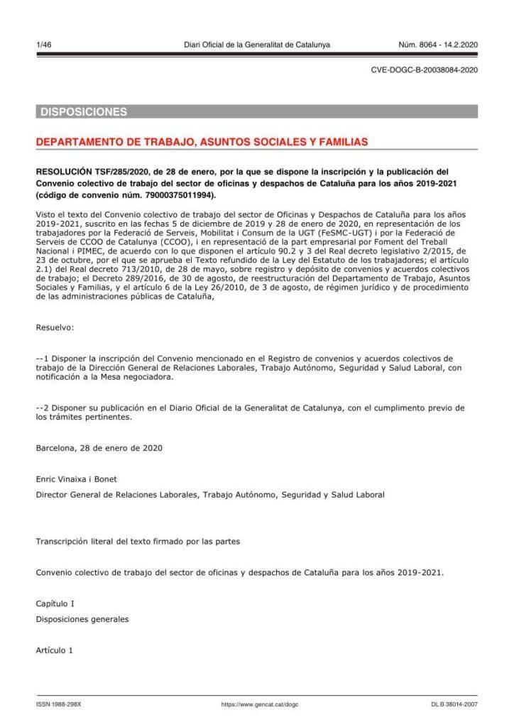CONVENIO OFICINAS Y DESPACHOS CATALUÑA (2019-2021)