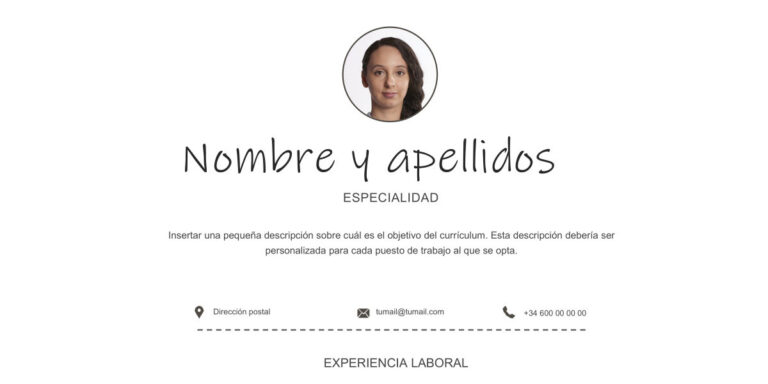 Modelo de Curriculum Vitae Blanco