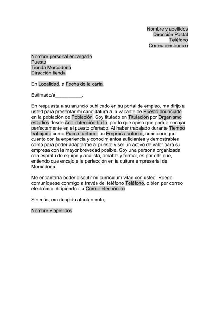 Carta de Presentación para Mercadona -Oficinas