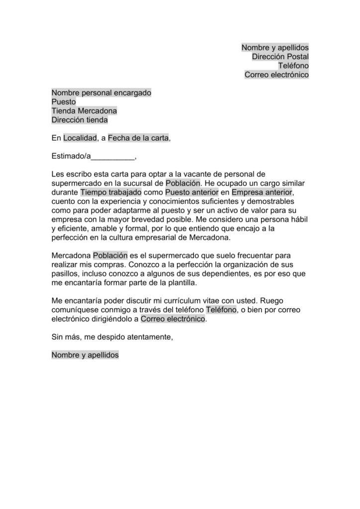 Carta de Presentación para Mercadona - Supermercado