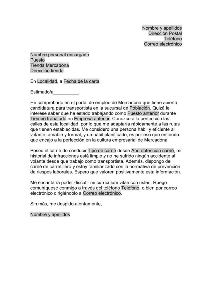 Carta de Presentación para Mercadona - Transportista