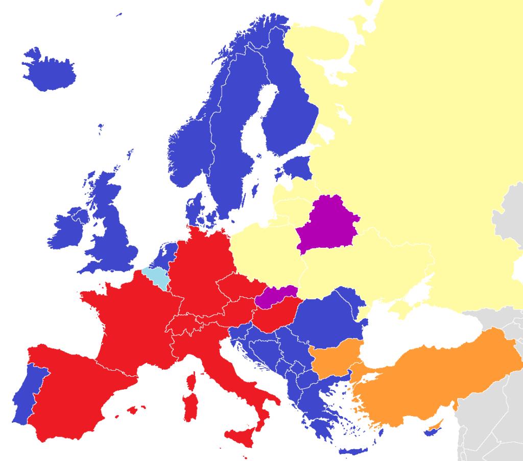 Mapa de películas dobladas en Europa