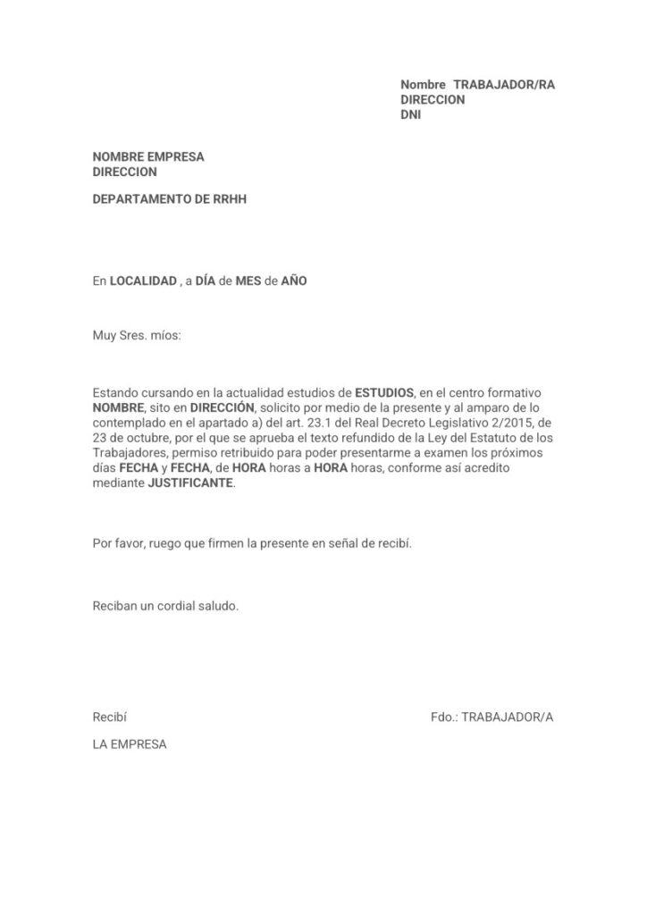 Modelo carta permiso por examen